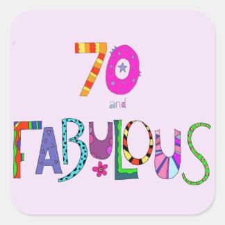 Pegatina Cuadrada 70 y 70.o cumpleaños fabuloso
