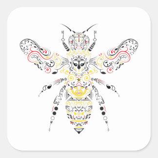 Pegatina Cuadrada abeja reina