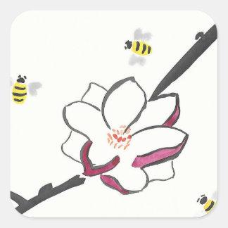 Pegatina Cuadrada Abejas de la magnolia y de la miel