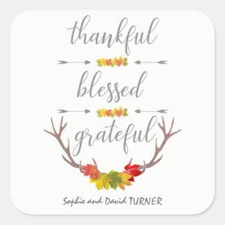 Pegatina Cuadrada Acción de gracias agradecida bendecida agradecida