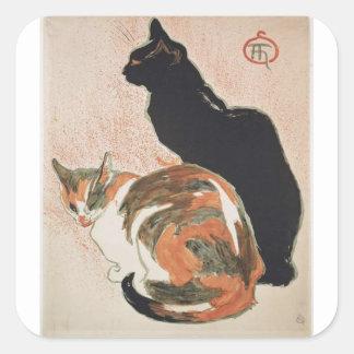 Pegatina Cuadrada Acuarela - 2 gatos - Théophile Alejandro Steinlen