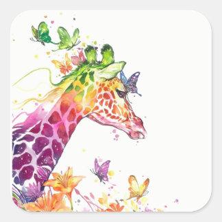 Pegatina Cuadrada Acuarela de la jirafa