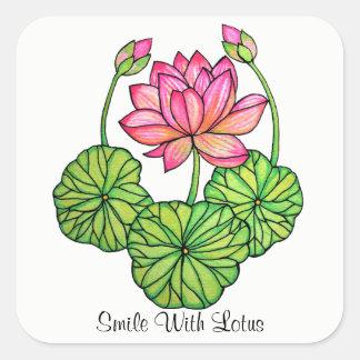 Pegatina Cuadrada Acuarela Lotus rosado con los brotes y las hojas