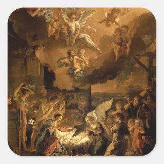 Pegatina Cuadrada Adoración del navidad de la bella arte de los
