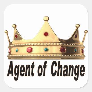 Pegatina Cuadrada Agente del cambio