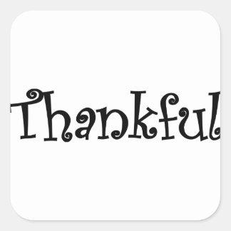 Pegatina Cuadrada Agradecido