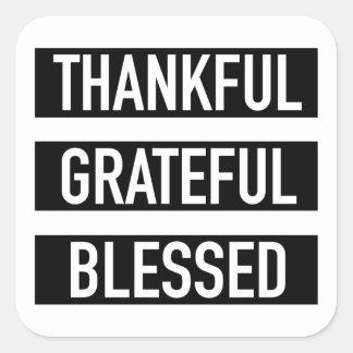 Pegatina Cuadrada Agradecido agradecido bendecido