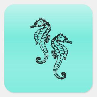 Pegatina Cuadrada Aguamarina de los Seahorses