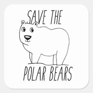 Pegatina Cuadrada Ahorre a los pegatinas de los osos polares