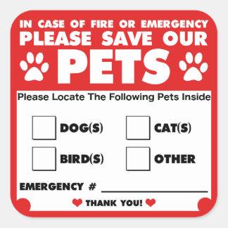 Pegatina Cuadrada Ahorre a nuestros mascotas - los