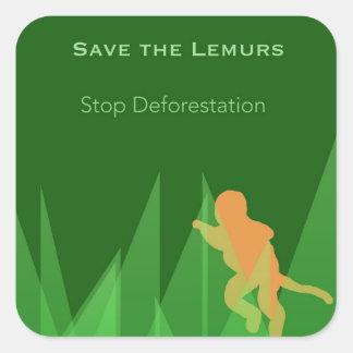 Pegatina Cuadrada Ahorre los Lemurs