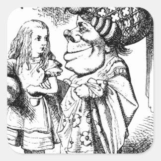 Pegatina Cuadrada Alicia y la reina roja