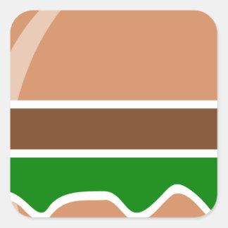 Pegatina Cuadrada alimentos de preparación rápida de la hamburguesa