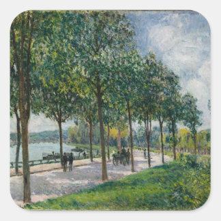 Pegatina Cuadrada Allée de los árboles de castaña - Alfred Sisley