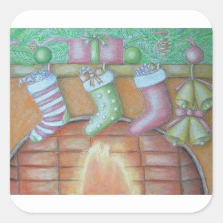 Pegatina Cuadrada Almacenamiento del navidad