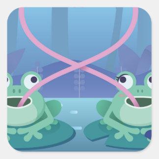 Pegatina Cuadrada amantes de la rana del día de San Valentín