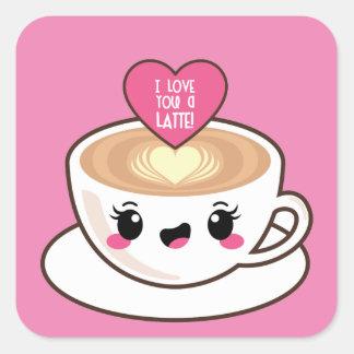 Pegatina Cuadrada Ámele un Latte EMoji
