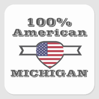 Pegatina Cuadrada Americano del 100%, Michigan