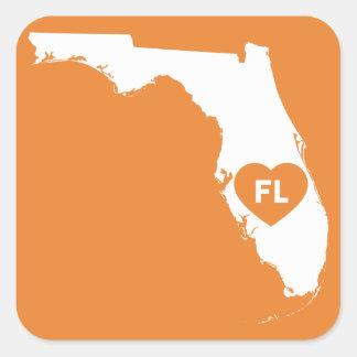 Pegatina Cuadrada Amo a los pegatinas del estado de la Florida