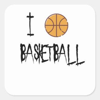 Pegatina Cuadrada Amo baloncesto