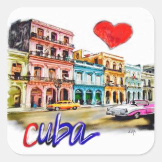Pegatina Cuadrada Amo Cuba