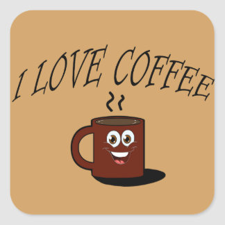 Pegatina Cuadrada Amo el café