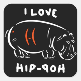 Pegatina Cuadrada ¡Amo el hip-hop (y hipopótamos)!