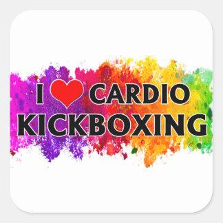 Pegatina Cuadrada Amo Kickboxing cardiio