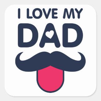 Pegatina Cuadrada Amo mi icono lindo del bigote del papá