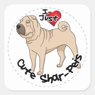 Pegatina Cuadrada Amo mi perro divertido y lindo adorable feliz de
