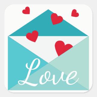 Pegatina Cuadrada Amor azul del sobre de los corazones rojos