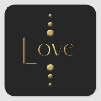 Pegatina Cuadrada Amor del bloque del oro de 3 puntos y fondo negro