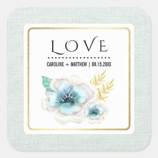 Pegatina Cuadrada Amor. Pegatinas de encargo florales románticos del