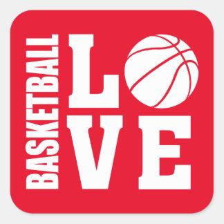 Pegatina Cuadrada Amor rojo del baloncesto, baloncesto