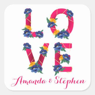 Pegatina Cuadrada Amor rosado floral con las flores azules y