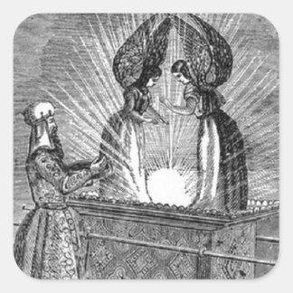 Pegatina Cuadrada Ángeles sobre la Arca de la Alianza