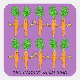 Pegatina Cuadrada Anillo de oro de diez zanahorias