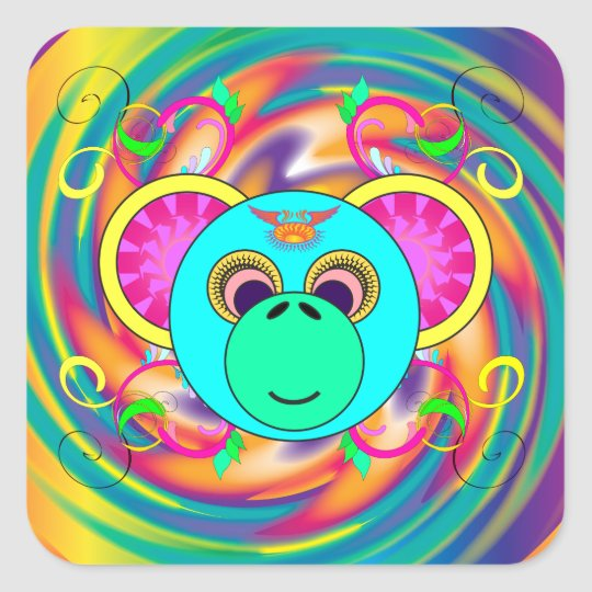 Pegatina Cuadrada Animal psicodélico colorido del arco iris del mono