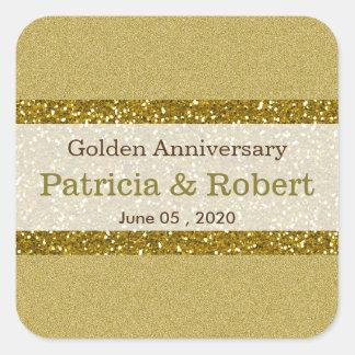Pegatina Cuadrada Aniversario de boda de oro del brillo 50.o del oro