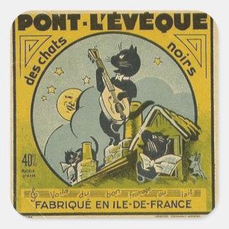 Pegatina Cuadrada Anuncio del francés del vintage