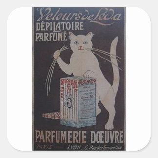 Pegatina Cuadrada Anuncio francés del vintage - gatos