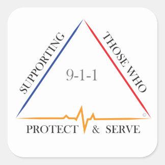 Pegatina Cuadrada Apoyando a los que protegen y el servicio 9-1-1
