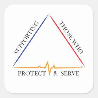 Pegatina Cuadrada Apoyando a los que protegen y sirven