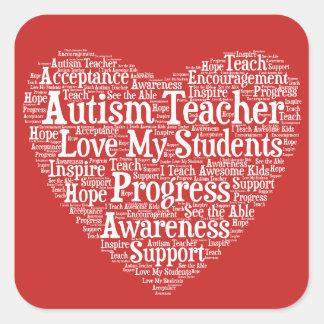 Pegatina Cuadrada Aprecio del profesor del autismo - seleccione su