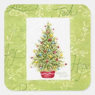 Pegatina Cuadrada Árbol de Chritmas de los pegatinas del navidad en