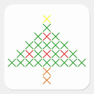 Pegatina Cuadrada Árbol de navidad