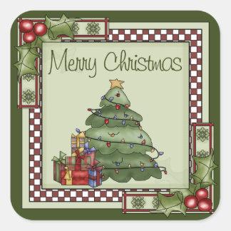 Pegatina Cuadrada Árbol de navidad lindo y Felices Navidad de los