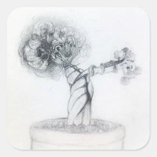 Pegatina Cuadrada árbol lindo