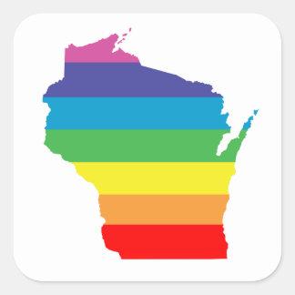 Pegatina Cuadrada arco iris de Wisconsin