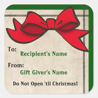 Pegatina Cuadrada Arco rojo (personalizado) A-De Christmas Sticker